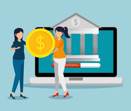 laptop with digital bank and women with coin vector illustration
