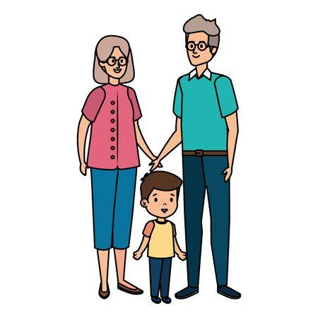 cute grand parents couple with grandson vector illustration design Illusztráció