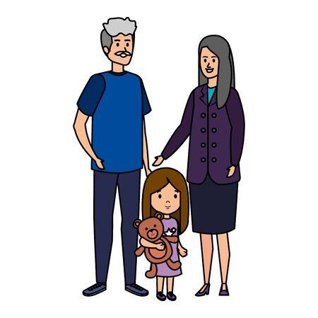 cute grand parents couple with grandaughter vector illustration design Иллюстрация