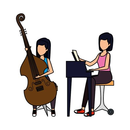 women playing cello and piano characters vector illustration design
