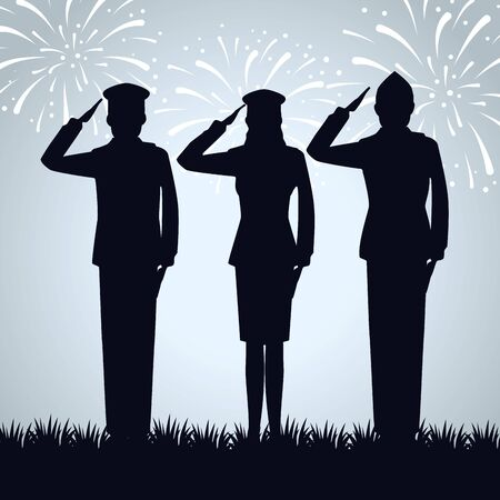 group of military people silhouettes vector illustration design Çizim