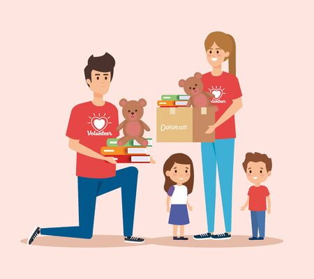 boy and girl volunteers with kids donation vector illustration