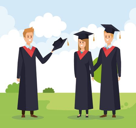 woman and men friends university graduation with rope vector illustration