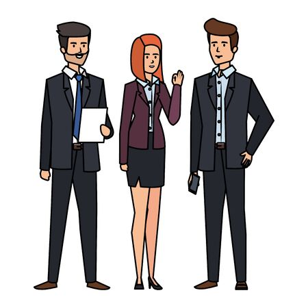 business people with documents vector illustration design