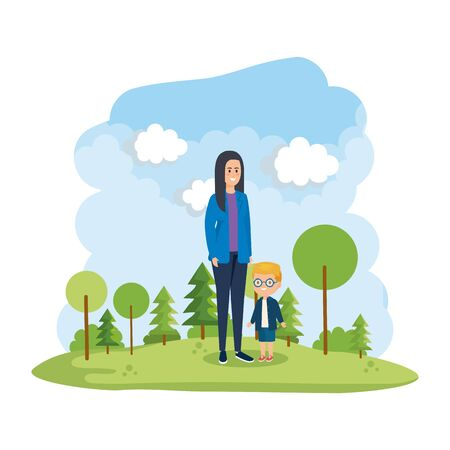 young mother with little son in the park scene vector illustration design Banque d'images - 133156639