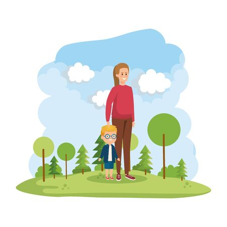 young mother with little son in the park scene vector illustration design Banque d'images - 133156643