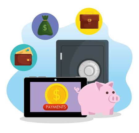 laptop with digital coin and strong box with money bag vector illustration Stock Illustratie