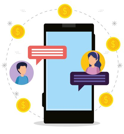 smartphone with women and men chat bubble about money vector illustration 向量圖像