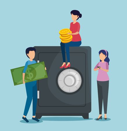 women and man with strong box and bill with coin vector illustration 向量圖像