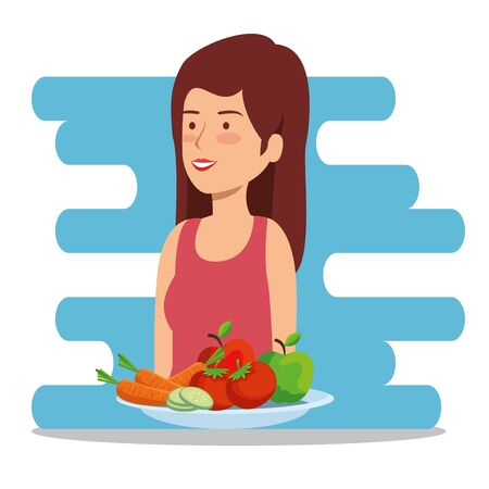 health woman with vegetables and fruits balance vector illustration
