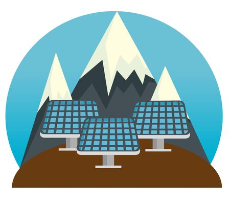 solar energy sustainable and snowy mountains vector illustration
