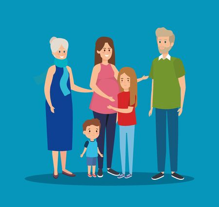 family together with grandparents and kids with their mother vector illustration