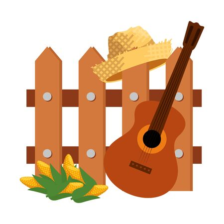 wooden fence with guitar and gardener straw hat vector illustration design