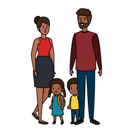 afro parents couple with daughter and son characters vector illustration design