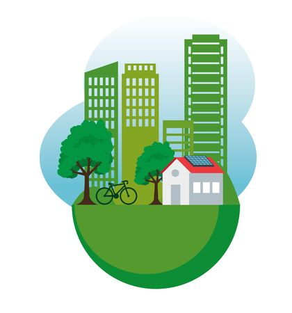 house and building with solar energy and bicycle vector illustration Illustration