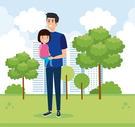 happy man with his daughter child and trees vector illustration