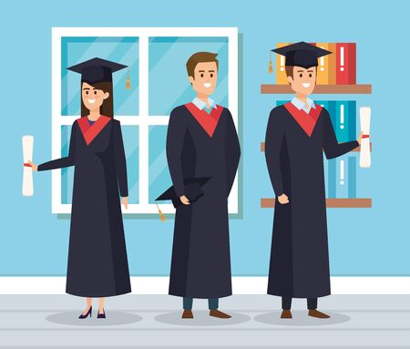 woman and men wearing robe and cap with bookcase vector illustration