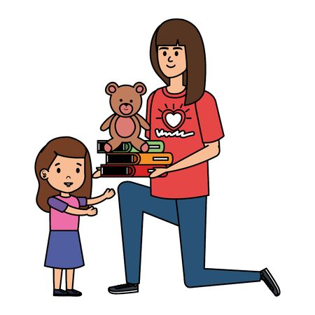 woman volunteer giving a girl books and bear teddy vector illustration design Stock Illustratie