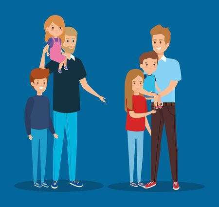 smile fathers friends with their daughter and sons vector illustration