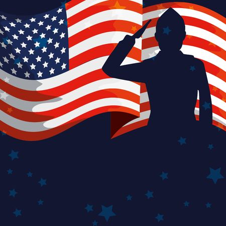 military man silhouette with usa flag vector illustration design