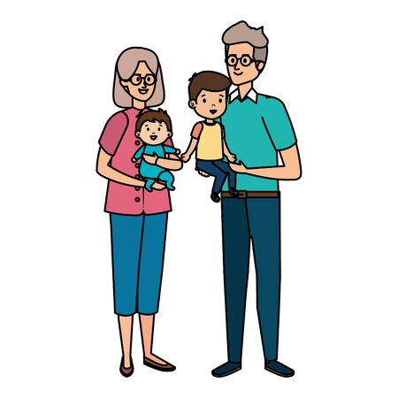 cute grand parents couple with grandson and baby vector illustration design