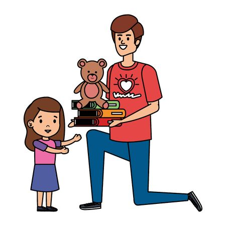 man volunteer giving a girl books and bear teddy vector illustration design
