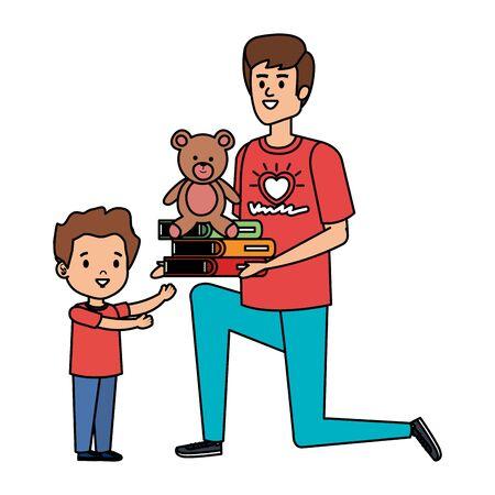 man volunteer giving a boy books and bear teddy vector illustration design
