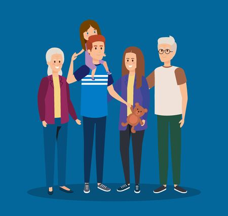 father and mothers with kids and grandparents together vector illustration