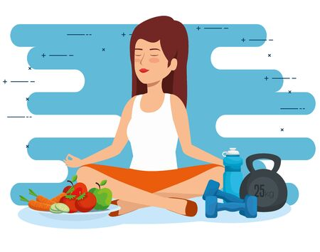 woman relaxation to health lifestyle wellness vector illustration Çizim