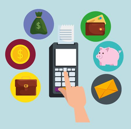 electronic dataphone technology to online banking with credit card vector illustration