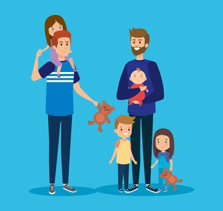 happy fathers friends with their daughter and sons vector illustration