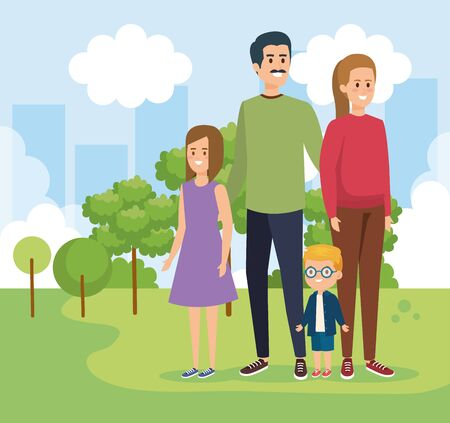woman and man with their daughter and son with trees vector illustration