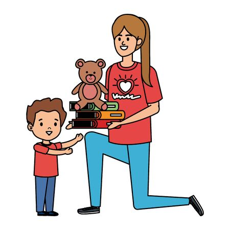 woman volunteer giving a boy books and bear teddy vector illustration design