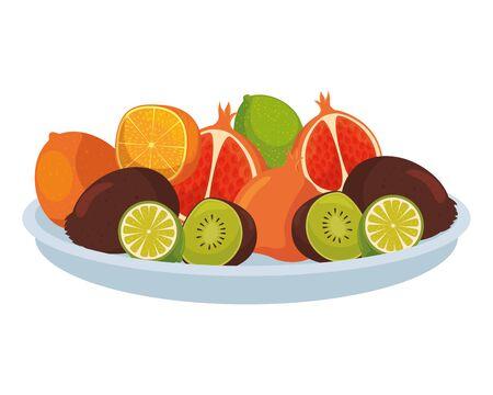 Plato con grupo de frutas tropicales y frescas, diseño de ilustraciones vectoriales