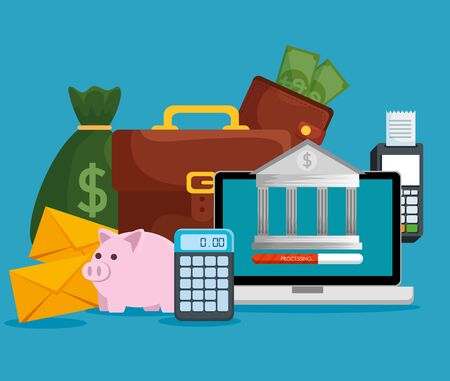 laptop technology with online banking and business payment vector illustration