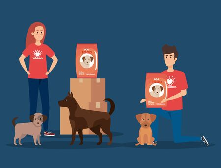 boy and girl volunteers with dog and food vector illustration