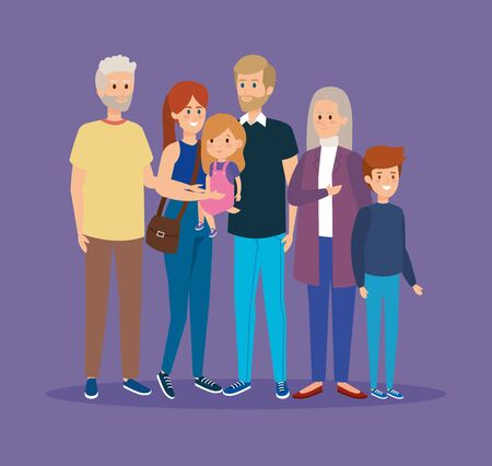 happy family with grandparents and kids together vector illustration