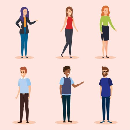 set cute women and men with casual clothes vector illustration