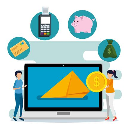 man and woman with laptop with credit card and dataphone vector illustration