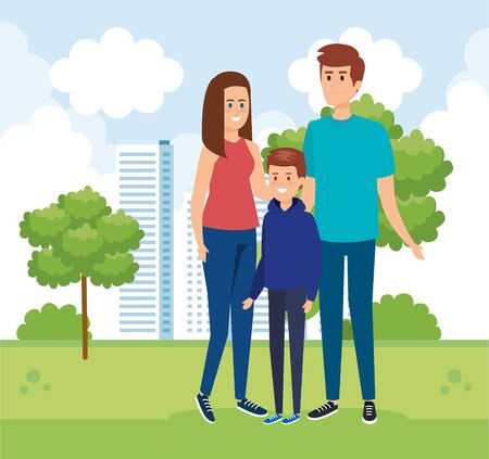 woman and man with their son and trees with bushes vector illustration