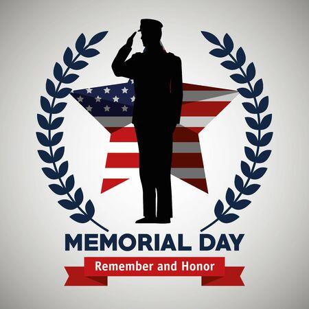Soldat mit USA-Sternflagge und Zweigen verlässt Vektorillustration Vektorgrafik