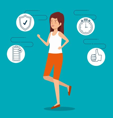 woman with chronometer and battery and shield to lifestyle vector illustration