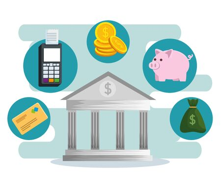 online banking technology with dataphone and credit card vector illustration