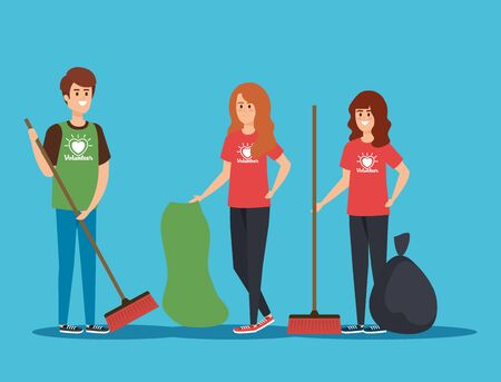 boy and girls volunteers with brooms and trash bag vector illustration