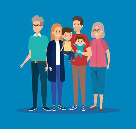 happy family together with grandparents and kids vector illustration