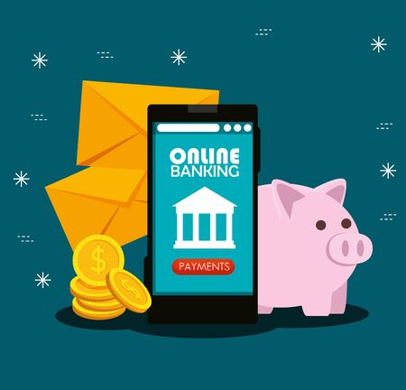 electronic smartphone with online banking technology and coins with piggy vector illustration