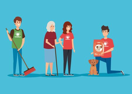 boys and girl with old woman and food dog donation vector illustration