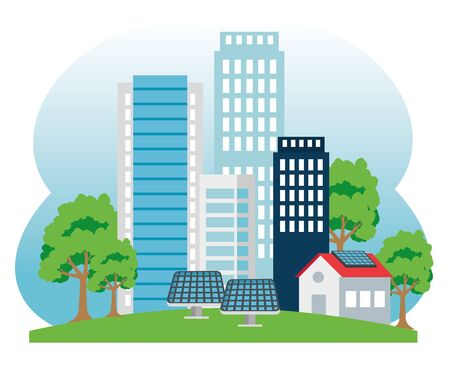 building and house with solar energy and trees vector illustration