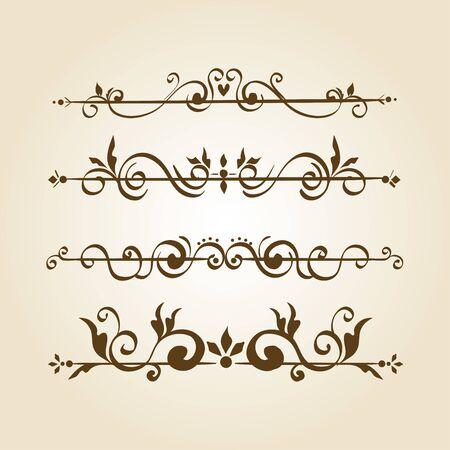 ensemble de cadres de bordures ornementales élégantes vector illustration design