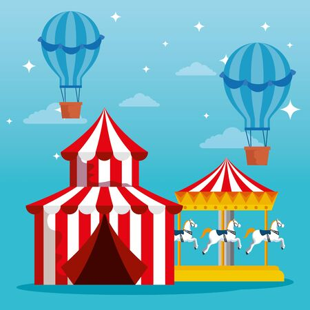 carnival circus with air balloons and marry go round vector illustration